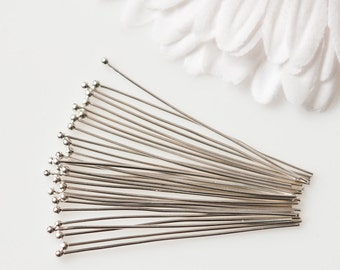 "HP22S - 2"" 22 Gauge Silver Headpins - 50 Pieces"