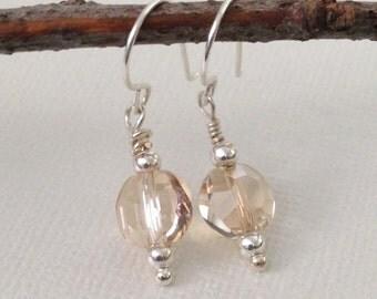 Amber Earrings, Glass Dangle Earrings,Silver,Petite