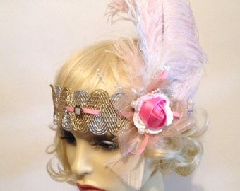 Unique 1920s style flapper feather charlston evening headband pearl silver gold pink