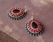Black Red Dangle Earrings Bead emboidery Earrings Beadwork Earrings Black Onyx Earrings Cabochon Earrings Black Red Jewelry Black Red Silver
