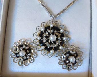 Vintage Coro Black Enamel onyx look Faux Pearl Rhinestone Goldtone filigree necklace earring set original box