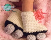 Baby Roller Skates Booties Pink Laces White Grey Crochet Winter Outfit Newborn Boy Girl Halloween  Photo Prop Accessory