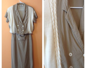 Taupe Linen Day Dress 1980s M/L