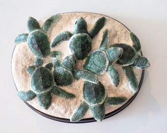 Green Sea Turtle Nest sculpture 8 x 3 in