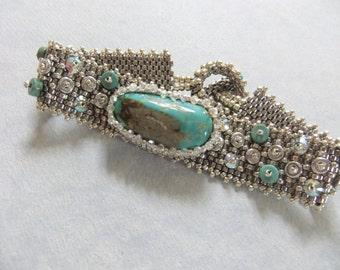 Turquoise and Palladium Peyote Stitch Bracelet