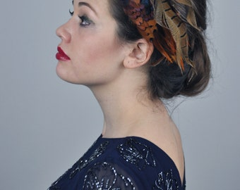 Feather Headband Fascinator in Vibrant Copper Feathers
