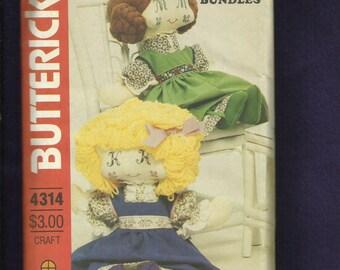 Vintage 1980's Butterick 4314 Sweet Face Rag Dollss Bonnies Bundles Size 19 inch Doll UNCUT