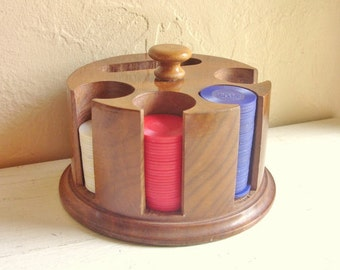 Beautiful Round Solid Wood Poker Chip and Card Deck Holder Wooden Storage with Chips