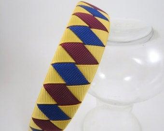 Yellow Maroon and Navy Headband - Navy Headband - Yellow Headband - Maroon Headband - Woven Braided Headband - Toddler Teen Adult Headband