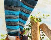 Multicolor Boot Socks Knit, Lace Knit Leg Warmers, Knee High Socks, Lounge Socks, Winter Accessories For Her, Fashion Boot Cuffs, Striped
