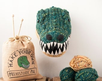 Faux Green T-Rex Knitting Kit - Make Your Own Prehistoric Pal - DIY Taxidermy Trophy Head
