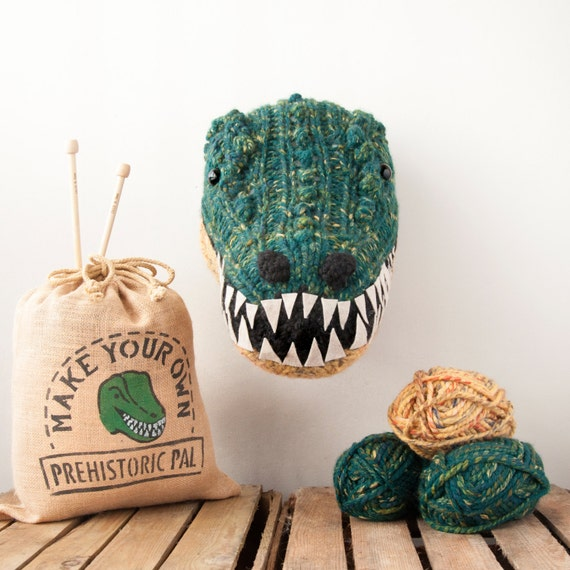 Faux Green T-Rex Knitting Kit Make Your Own Prehistoric Pal
