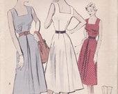 1950s Sun Dress Pattern with Square Neckline Butterick 5331 Size 12 Uncut