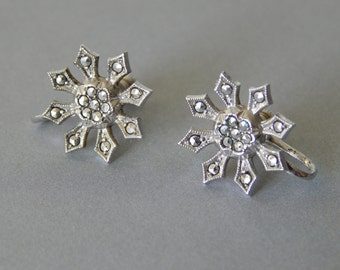 Vintage sterling silver marcasite snowflake screw-back earrings, non-pierced vintage earrings