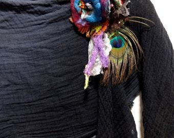Bohemian Hippie Tattered Wool Felt Velvet Flower Fiber Brooch