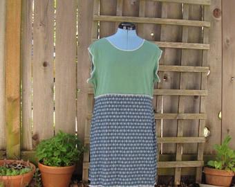 Upcycled Argyle Summer Tank Dress/ Funky Eco Tunic Dress Size M