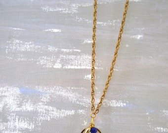 Peace and Love Gold charm  Necklace. Blue Bead. Hippie. Hipster. Gift for her. Teen girl. Christmas gift. Festival. Gold Chain. Everyday