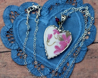 Necklace, Broken China Jewelry, Broken China Necklace, Pink Violets, Sterling Silver, Soldered Jewelry