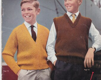 Paton's Knitting Pattern No 642 for Boys & Teens age 6  to 15 years - Vintage 1960s, Jumpers, Cardigans, Sweaters, Jackets, Cap, Vest