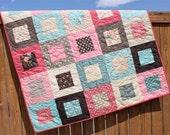 Baby Quilt, Rambling Rose Quilt, Pink Baby Girl Quilt, Pink Brown Aqua Bedding, Crib Quilt, Nursery Decor, Handmade Quilt, Teal Quilt, Moda