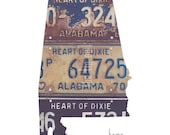 Alabama Home Print | State Outline | Vintage License Plate Photograph | Heart of Dixie Dorm Decor | Roots | Vintage Alabama Art | Montgomery
