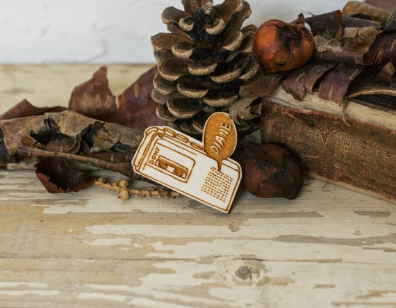 Twin Peaks Brooch - Diane, Laser Cut Plywood Pin