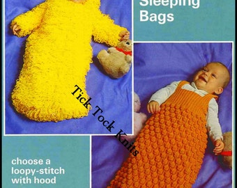 No.172 Knitting Pattern PDF Vintage - 2 Different Baby Boy's or Girl's Sleeping Bags - Snuggle Sacks - Sleepbag - Size 12, 18, 24 Months
