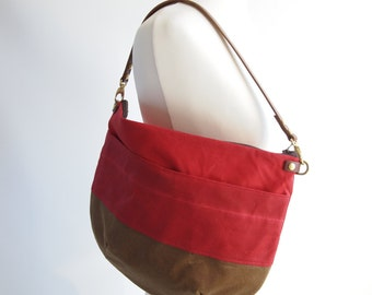 Canvas Cross Body Bag - NEVIS -  Red and Tan - Zip Top  Waxed Canvas  Adjustable Leather Shoulder Bag by HOLM