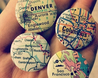 """CUSTOM Map Pin - Wanderlust gift for the adventurous traveler - upcycled, travel, world - 1"""" Pinback Pick Your Own Location -"""