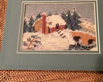Vintage Signed Needlepoint Mountain Cabin in Shades of Aqua Blue, Green, Terra Cotta (1940)