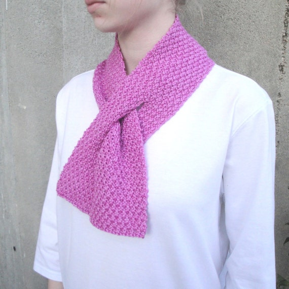 Knitting Pattern For Pull Through Scarf : Pull Through Scarf Keyhole Short Small Orchid Pink by ...