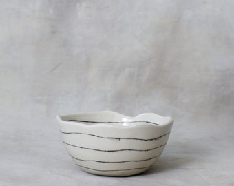 One Everyday Striped Bowl Black and White Porcelain Made to Order