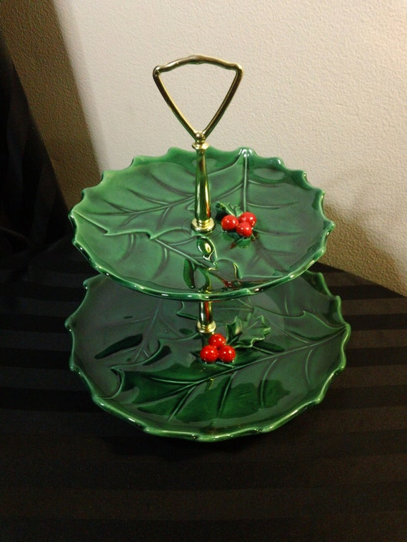 Vintage Lefton 1364 Green Holly Two Tiered Holiday Christmas