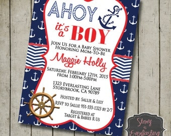 Ahoy It's a Boy Invitation - Baby Shower - Digital File - DIY - Printable Invitation
