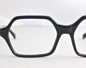 Vintage 60's Angular Black Cat Eyeglass Frames