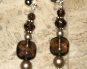 Artisan Hand Crafted Smoky Quartz Pierced Earrings
