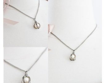 Pearl Rhinestone Pendant on Chain.- Drop Necklace. Caged Pearl // Vintage 1950s Jewelry. Prom, Bride
