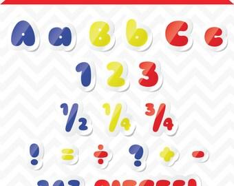 80% OFF Sale Clipart Bubble Sticker Alphabet Primary Color Letters
