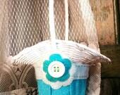 Aquamarine and White Flower Girl Basket, Beach Wedding, Shabby Chic, Cottage Chic, Felt Flower Basket by Green Orchid DS.