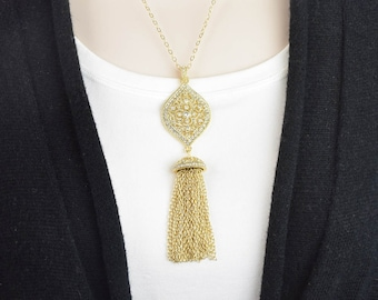Gold Tassel Necklace - Long Layered Necklace - Long Tassel Necklace - Layering Necklace - Statement Necklace