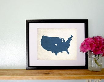 United States Love Personalized Country Map Art 8x10 Print.