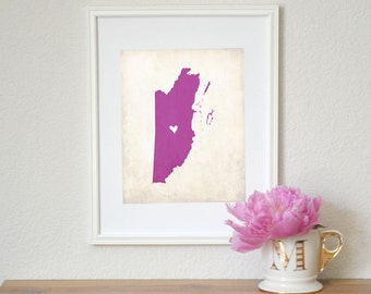 Belize Personalized Country Map Art 8x10 Print. Personalized Keepsake Map. South America Country Map. Home Map.