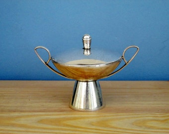 1960s Serving Dish Storage Jar Silver Plate Vintage Housewares Vintage