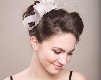 Feather fascinator, feather spray headpiece, bridal headpiece