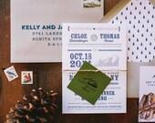 Rustic Mountain Letterpress Wedding Invitation: Onteora Mountain House