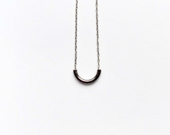 Minimal Gunmetal U Necklace With Delicate Antique Brass Chain 15 inch Tiny Small Charm Mixed Metal Handmade Jewelry