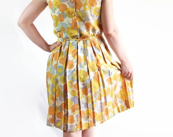 60s Mod Dress Mad Men Flower Power Floral Print Yellow
