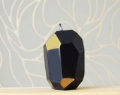 Faceted Handmade Candle - Black and Gold Geometric Candle - Easter Candle - Modern Easter Decor - Geometric Metallic Easter Candle Gift