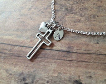 Personalized Cross Necklace » Hand Stamped Initial Tag