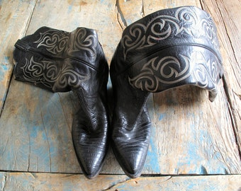 Black Fancy Lizard Skin Knee High Ladies US Size 7.5 Cowboy Boots